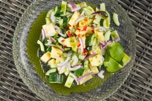 kokenmetroos tropische-salade-ananas-munt-komkommer