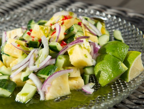 kokenmetroos-tropische-salade-munt-komkommer-ananas-peper